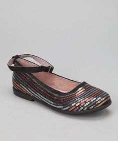 Take a look at this Black Sequin Penny Ankle-Strap Flat by Ragg Shoes on #zulily today!
