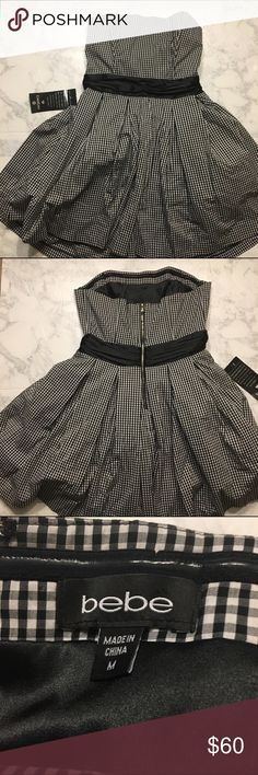 NWT bebe Plaid Black and White Dress NWT bebe Plaid Black and White Dress. Fully lined. bebe Dresses Mini