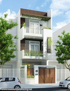 3 Storey House Design, Bungalow House Design, House Front Design, Modern House Design, Narrow House Designs, Latest House Designs, Architectural Design House Plans, Architecture Design, Zen House