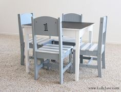 Furniture makeover: children's table & chair set. Love the stripe chairs and chalkboard top!