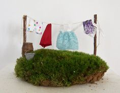 Fairy Garden Miniature Clothesline with Clothes