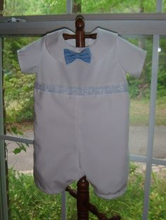 Items similar to The Affordable Boys Christening, Baptism and Dedication Outfit Now with a BOW TIE on Etsy Baptism Gown, Boy Christening, White Romper, Make Time, Cool Baby Stuff, Color Splash, Custom Made, Baptism Ideas, Rompers