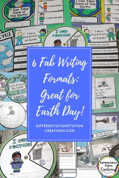Fun writing activities to write about the Earth. Great for Earth Day or any day! Flip books, spinners, writing prompts and more. Explore recycling, compost, protecting the Earth, and how to reduce-reuse-recycle. $