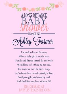 Long Distance Baby Shower Invitation By Mail