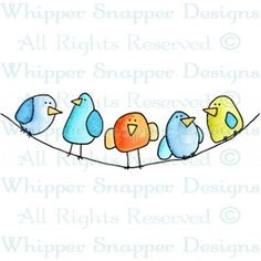 "Whippersnapper - Birdie Line-Up. I have the stamp the ""Flock"", multiple rows of birds - so cute Bird Drawings, Doodle Drawings, Doodle Art, Drawing Birds, Bird Doodle, Watercolor Cards, Whimsical Art, Mail Art, Bird Art"