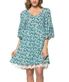This Royal Blue Floral Lace-Underlay Dress by JM Clothing is perfect! #zulilyfinds