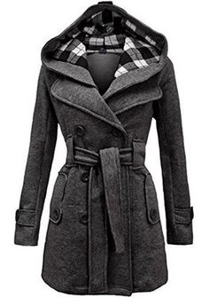 Grey Plain Belt Double Breasted Long Sleeve Hooded Fashion Wool Coat - Outerwears - Tops