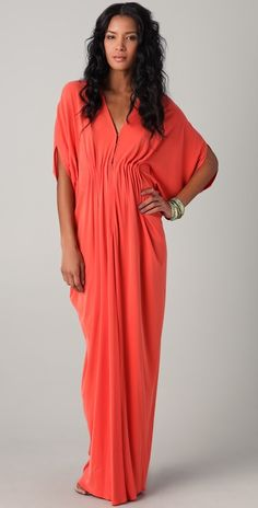 ISSA Long Ruched Caftan Dress