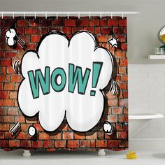 Rustic Home Red Cracked Brick Wall British Backdrop Uk English Pop Art Cloud 90's Grunge Shower Curtain Set