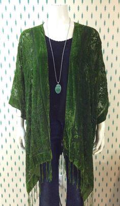 Velvet Kimono: Moss Green Velvet Burnout Fringe Kimono Cover Up on Etsy, $75.00 CAD  winifred
