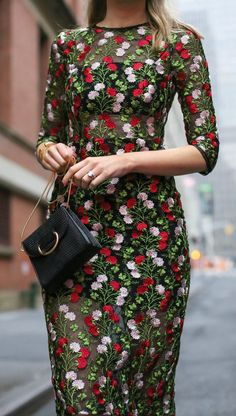 What to wear to your work holiday party!  The complete guide!  Casual looks, business formal looks and even cocktail attire like this green, red and pale pink embroidered midi length cocktail perfect for christmas and the holidays.