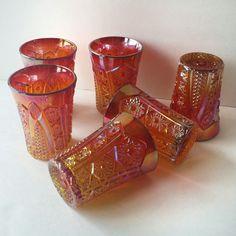 sunset carnival glass tumblers indiana glass by JewelzAndBeyond