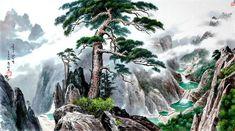 (North Korea) Eight Ponds in Mt Geumgang by Choi Gye-geun (1942-  ).
