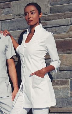 Inspired by the philosophy of living in your own element, Chi promotes empowerment of women through looking good and feeling good. Salon Uniform, Spa Uniform, Scrubs Uniform, Salon Wear, Lab Jackets, Doctor Scrubs, Lab Coats, Medical Uniforms, Professional Wardrobe