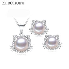2017 Fashion Necklace Pearl Jewelry Set Natural Freshwater Pearl 925 Sterling Silver Jewelry Cat Pendant Earring For Women