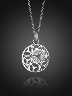 Di Modolo Small Medallion Necklace with Pave Diamonds in Sterling Silver