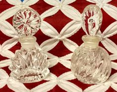 "Vintage Art Deco (Set Of 2) 4 3/4"" Tall Crystal Clear Perfume Bottles with Etched Glass Stopper & Cut Glass Swirls for your Dresser or Decor -    Edit Listing  - Etsy"