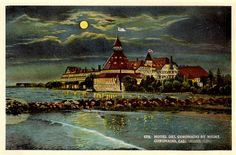 Vintage Postcard / Hotel Del Coronado Hotel by Night / California 1921