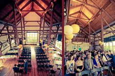 Byron Colby Barn - Greyslake, Il - move chairs to dance floor for ceremony and then move to tables for reception