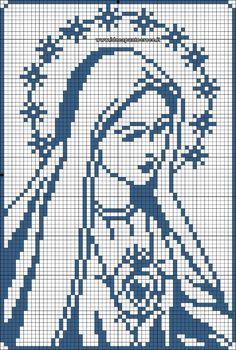 13 Virgenes para hacer en punto de cruz ★★★★☆ 471 Opiniones - Patrones y Labores Cross Stitch Borders, Cross Stitch Charts, Cross Stitch Designs, Cross Stitching, Cross Stitch Embroidery, Hand Embroidery, Religious Cross Stitch Patterns, Crochet Motifs, Crochet Chart