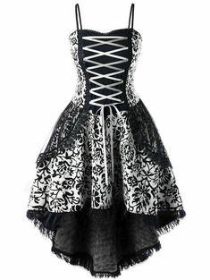 Gamiss Fashion Sexy Plus Size Lace Up Dip Hem Corset Dress Lace Evening Women Casual Push Up Gothic Corset Dress Steampunk Rock, Steampunk Dress, Clubwear, Looks Vintage, Retro Vintage, Vintage Gothic, Gothic Corset Dresses, Pretty Dresses, Beautiful Dresses