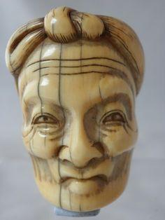 Ivory mask netsuke with old man Jo, signed Meikeisai Hojitsu. Super ivory mask…