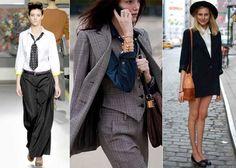 mulheres usando ternos e outras peças masculinas