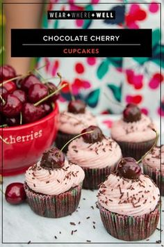 Chocolate Cherry Cupcakes with cherry frosting