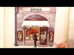 """Watercolor Illustration """"Bookstore"""" with colored pencils speed painting ..."""