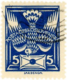 stampdesigns:  Czechoslovakia postage stamp: carrier pigeon c. 1920 designed by J. Benda