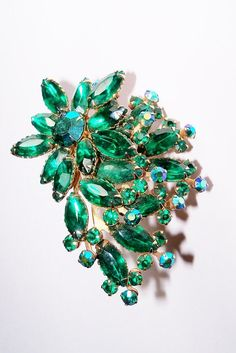 Vintage Brooch Rhinestones Green Navettes AB Green Round Gold Tone Bridal Sash Bouquet Jewelry Jewellry Gift for Her Christmas Birthday