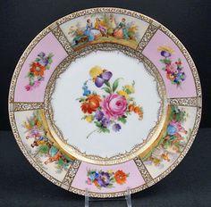 12 Antique Wehsner Dresden Luncheon Plates