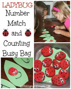 Busy Bag Activities for Preschoolers: Ladybug Number Match and and Counting Math Game!