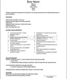 Student Nurse Resume Template Sample Nursing Resume  New Graduate Nurse  Nursing And Job