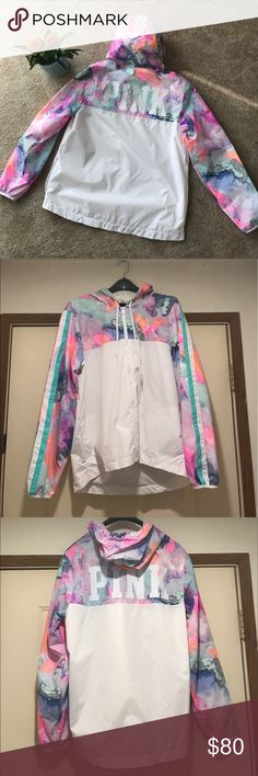 ✨Victoria's Secret PINK Watercolor Anorak✨ Brand new and never worn! Beautiful water color anorak or windbreaker. Full zip with hood. Mesh detailing on the inside makes this a lightweight and breathable jacket that you can even throw on in the summer! Super cute! No stains, marks, rips, or tears. Completely brand new and excellent excellent condition! ;) PINK Victoria's Secret Jackets & Coats