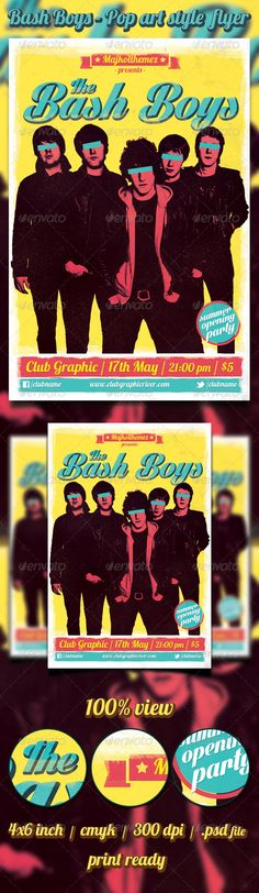 Bash Boys - Pop art style Flyer  Music flyer template for Rock/Indie/Grunge/Garage/Punk gig, concerts, events or nights.        .psd file      well layered      easy editable text      4×6 inch with .25 bleed      1275 px x 1875 px      300dpi      CMYK      print ready