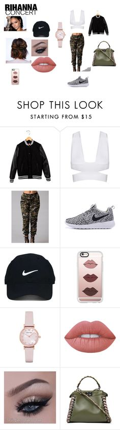 """""""Rihanna Concert Contest"""" by victaletdjamba ❤ liked on Polyvore featuring MSGM, Nike Golf, Casetify, Emporio Armani, Lime Crime and Fendi"""