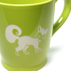 You're so foxy with your morning coffee! This large, sturdy coffee mug comes in tangerine orange, navy blue, sky blue or celery green. Large ceramic coffee mugs - - dishwasher-safe, microwave-safe - s