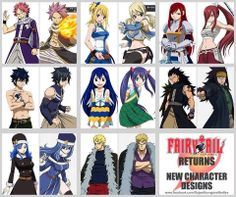 Fairy Tail- i really like the new Gray Juvia and Gajeel. Preferred Natsu's previous haircolor to the new one tho