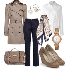 A fashion look from July 2012 featuring stripe shirt, trench coats and taupe shoes. Browse and shop related looks. Classy Outfits, Pretty Outfits, Chic Outfits, Fashion Outfits, Womens Fashion, Business Fashion, Fall Winter Outfits, Winter Fashion, Trench Beige