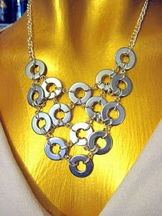 Washer bib necklace. Could paint with nail polish first