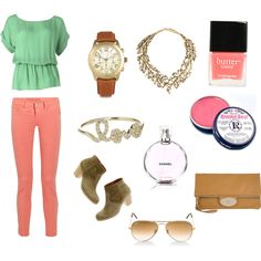 Pastel jeans and top with gold and tan accessories