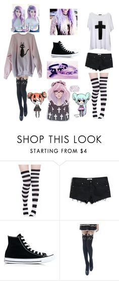 """""""Pastel Goth"""" by oni-hime on Polyvore featuring Victoria's Secret PINK, Converse and Ghibli"""