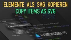 #13 Quicktips – Copy items as SVG  In this quicktip, I'll show you how to enable the option to copy elements as SVG in Affinity Designer and how to use it, e.g. in HTML in combination with CSS and JS. #madewithaffinity #madeinaffinity