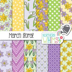 "Spring Digital Paper - ""March Floral"" - daffodil, crocus & snowdrop patterns in purple, yellow, white - Easter scrapbook paper - CU OK"