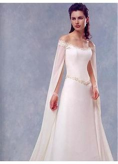 Stunning A-line Chiffon & Lace Off-the-shoulder Floor Length Wedding Dress With Sweep Train
