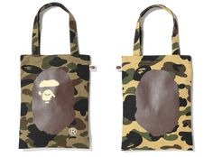 These new Bape tote bags combine two of the favorite elements of the brand – the 1st camo pattern with the Bape head logo. Sometimes it is that simple. The bag comes in two colorways and is now available from Bape Stores.
