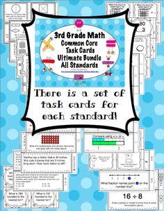 Grade Math Task Cards All Standards Bundle Common Core Math, Common Core Standards, Fun Math, Math Activities, Teaching Math, Teaching Ideas, Math Helper, Math Task Cards, Math Intervention