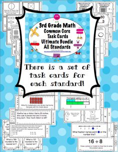 THird Grade Common Core Math Task Cards - Your planning just got easier with these 3rd grade math Common Core task cards. This 375 page resource has a set of 24 task cards for each of the 3rd grade Common Core Standards in math. Wow! $