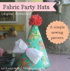 ($4.00) These little party hats, sized perfectly for children up to age 5, are a quick and delightful project for the beginning sewist as well as the experienced stitcher looking for ways to use up fabric scraps. A perfect handmade touch for a child's birthday party or any celebration.